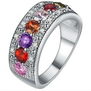 Jewelry - Multi-Color Gemstone Crystal Silver Ring